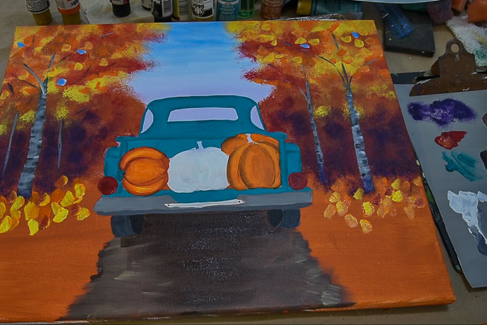 paint the orange pumpkins with a double loaded brush, cardinal and pure orange