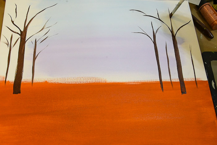 base paint the tree trunks with burnt umber