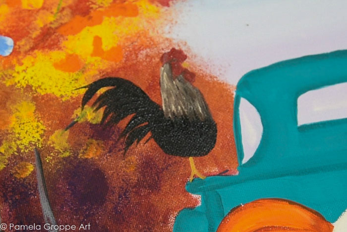 Using linen and the flat brush add highlights to the neck and upper body of the rooster