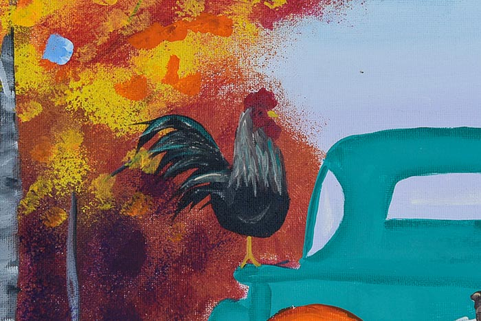 Rooster painted on Fall Truck