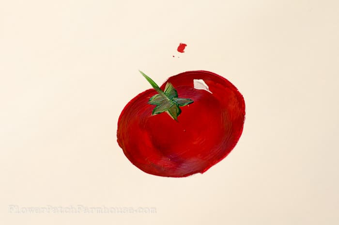Hand painted tomato in acrylics