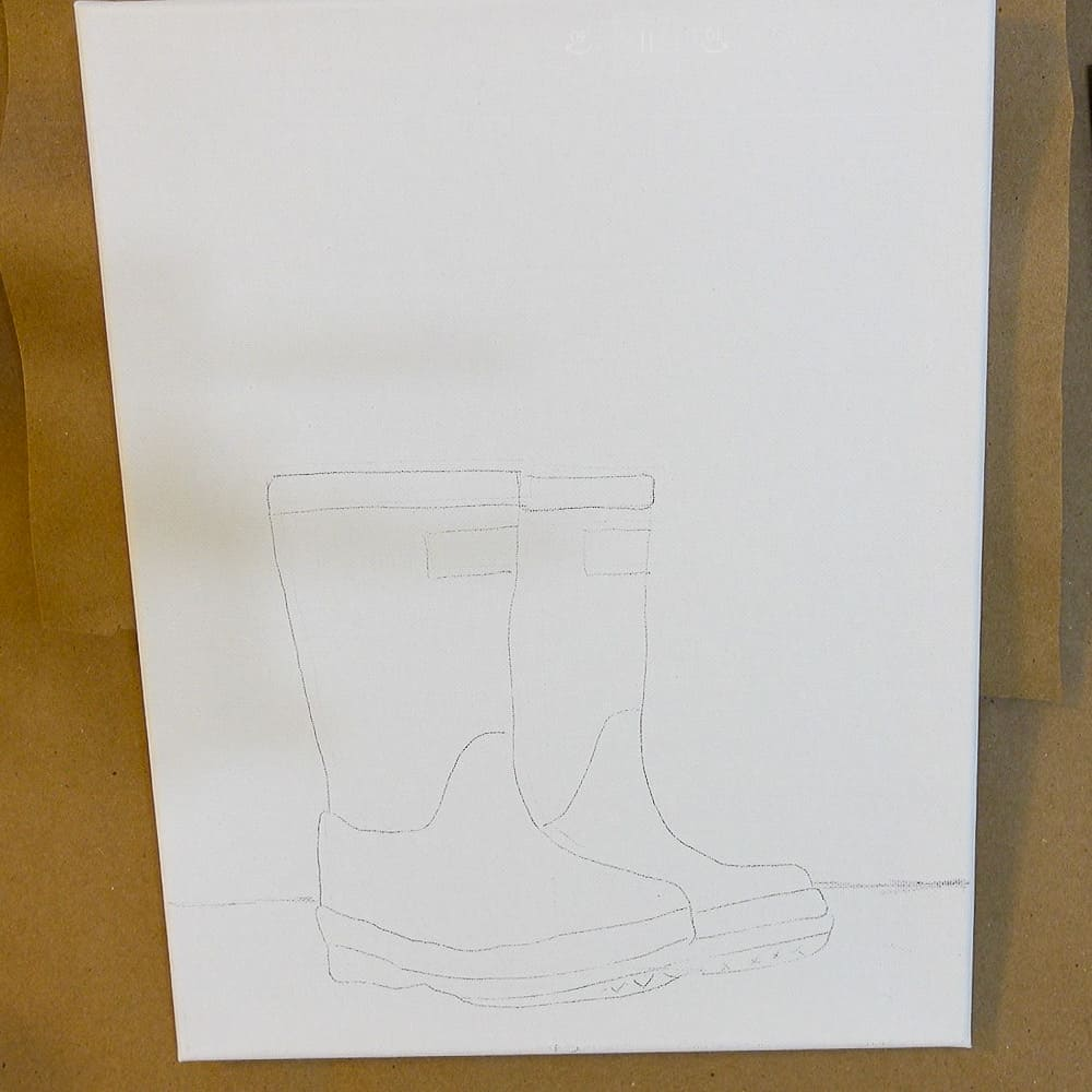 Draw or transfer outline of boots