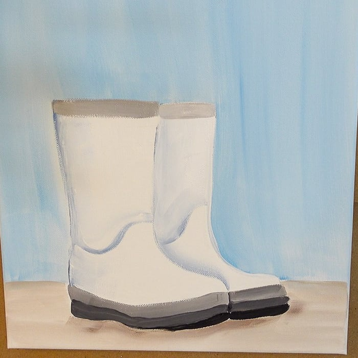 white rubber boots painted in acrylics