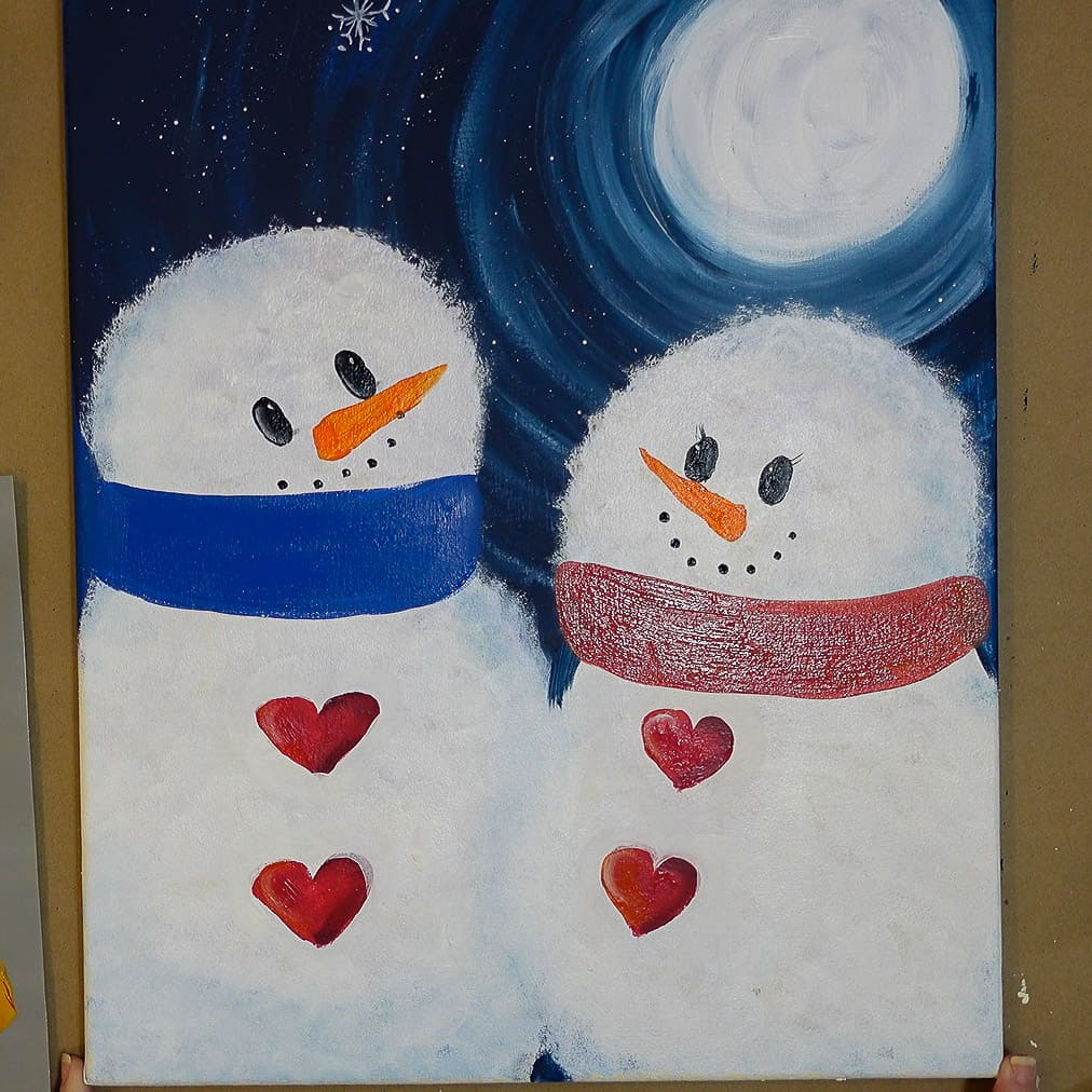 add band of color across neck for snowman scarf
