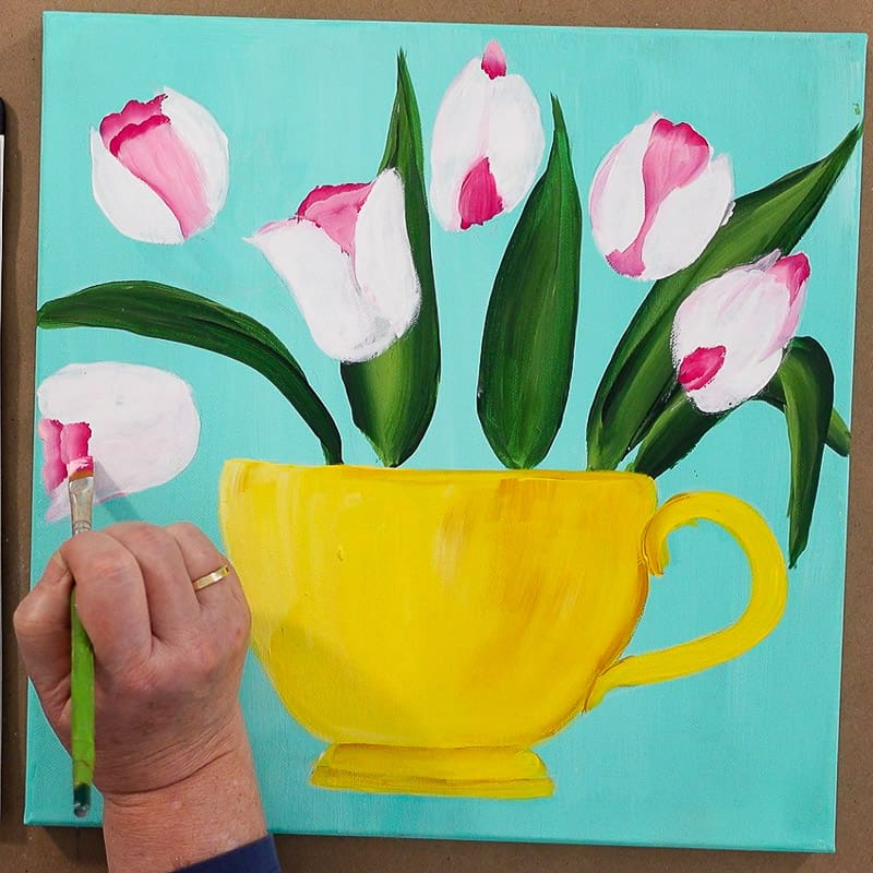 paint back layer of tulip flowers