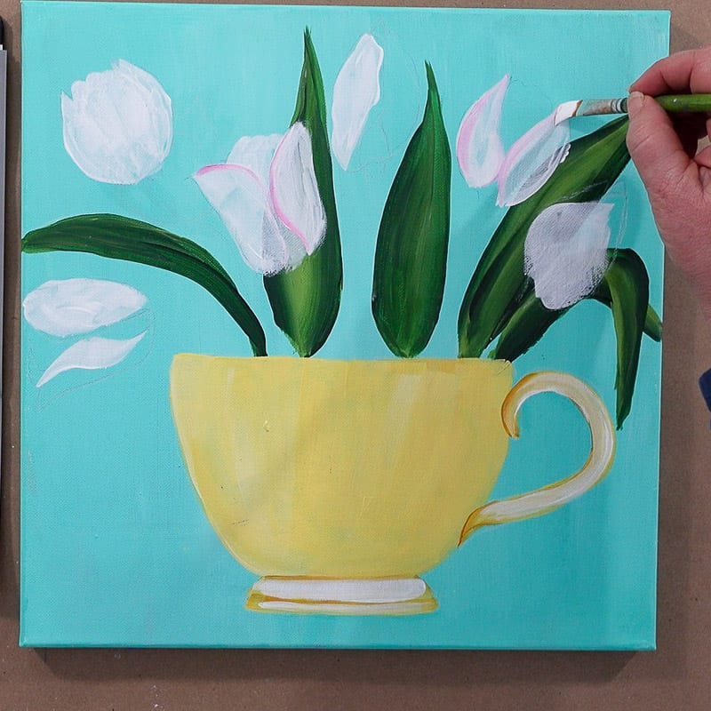 underpaint tulips with white, paint pink tulips in teacup