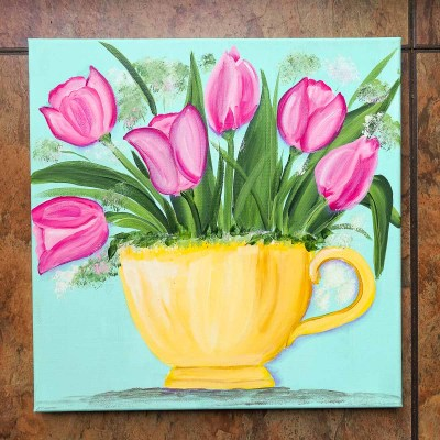 Pink Tulips in a Teacup acrylic painting
