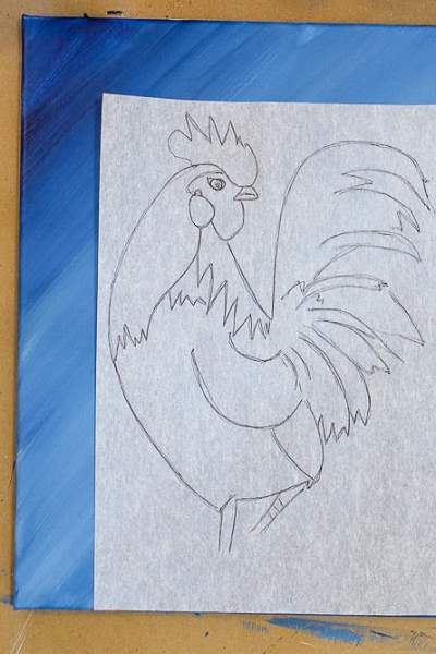 rooster drawing on canvas