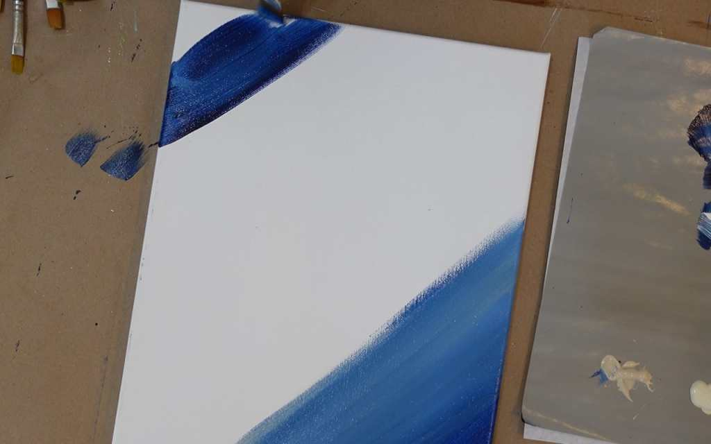 Prussian Blue on corners to begin painting background