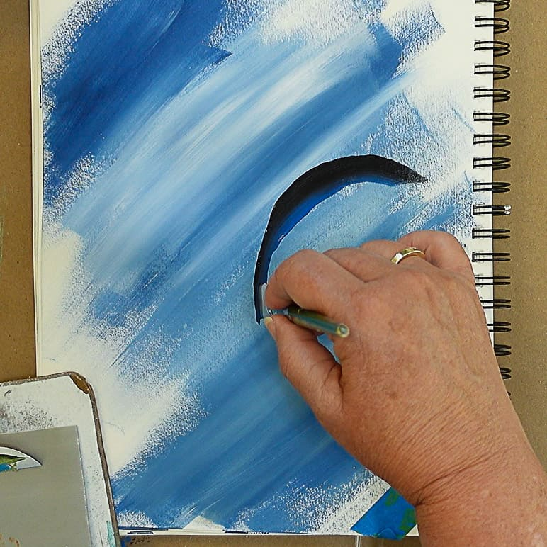 Practicing strokes to paint rooster tail