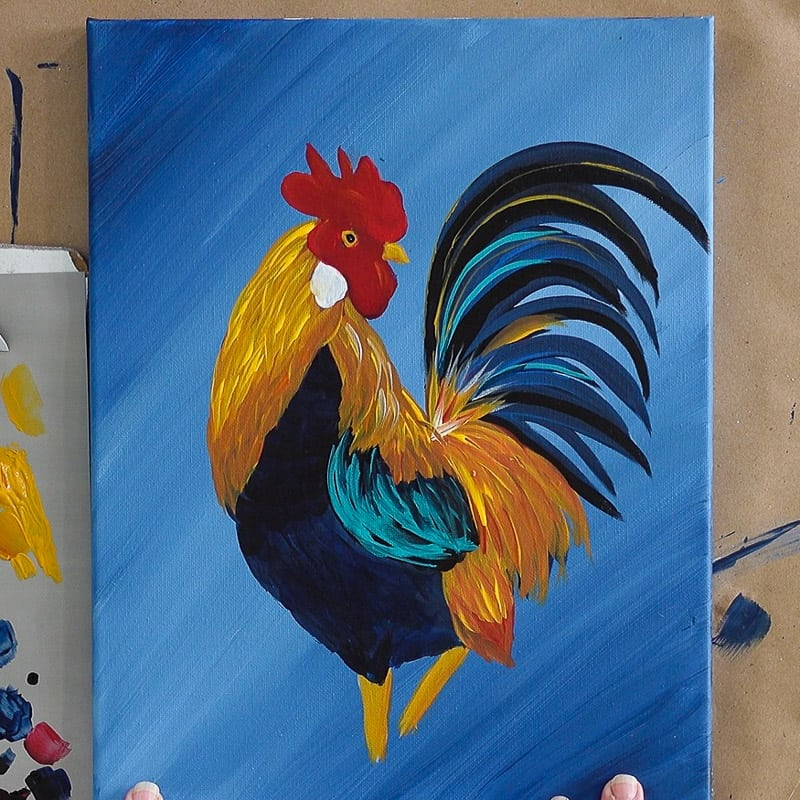 Finish the Rooster Painting, adding aqua for pop