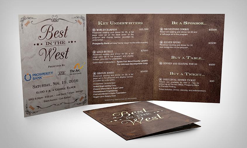 Fort bend arc invitationdonor brochure pamela printing company share malvernweather Images