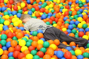 face down in the ball pit!