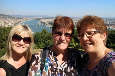 Look at the view behind us. We were amazed at how pretty Budapest looked