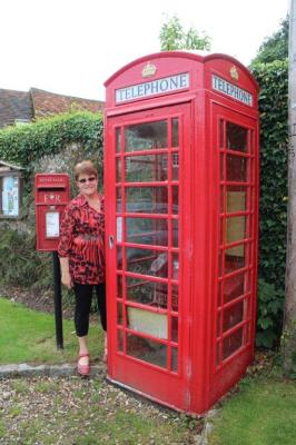 There you go...a letter box and phone box together....and Judy posing for the photo :-)