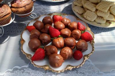 Chocolate eclairs and strawberries....oh my!
