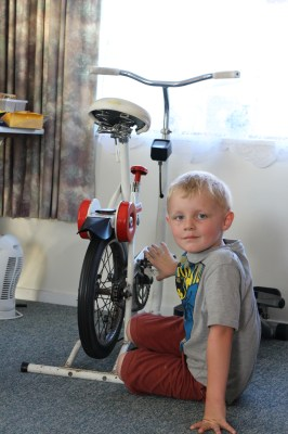 Christian entertaining himself with the exercycle