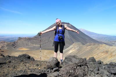 Joanna with Ngauruhoe behind her