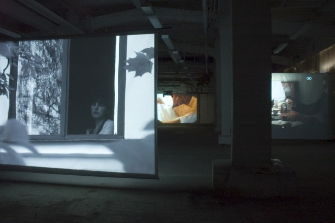 Burning Poems, 3 channel video installation, Moscow, Pam Skelton, 2007.