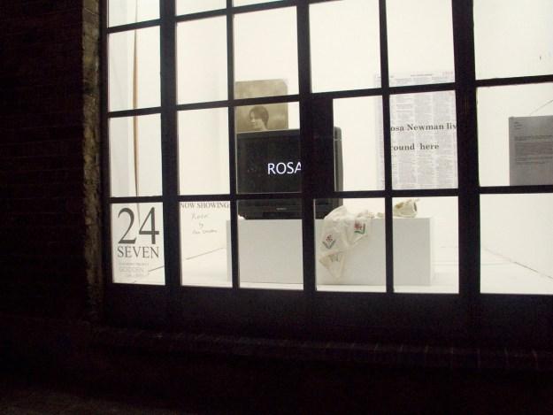 Rosa a window installation at Gooden Gallery, London. Pam Skelton 20011