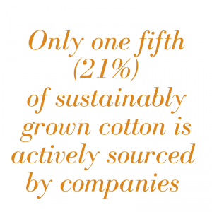 One fifth of sustainably grown cotton is not sourced by companies