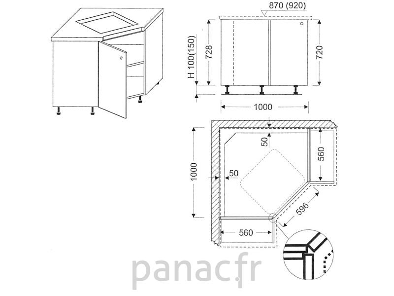 angle sous plaque de cuisson oc 100 nsl