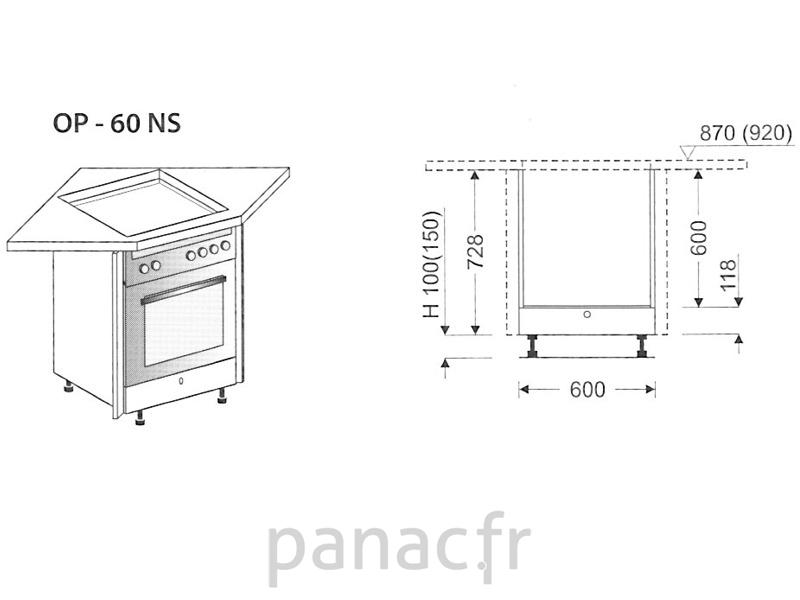 angle sous plaque de cuisson op 60 ns