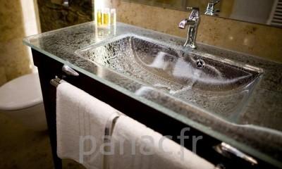 plan vasque en verre sur mesure