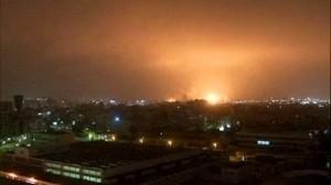 night sky full of bombs over Tripoli