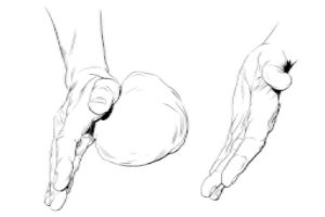 The forward rubbing features a steep hand, with the hand on edge, open palm, a vertical line from little finger to thumb. With the puffy pad of the palm below the thumb joint doing the work, you push forward as well as pulling downwards on the piece as it is stroked forward. (The left hand is held aside, doing nothing at this point, indeed superfluous).