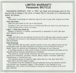 1979 Panasonic Bicycles Limited Warranty