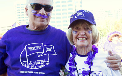 Diane and her friend Chuck Cheatham at PurpleStride Silicon Valley.