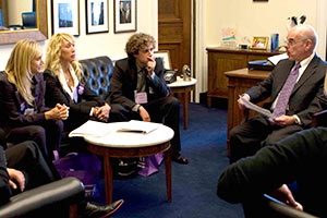 Cindy, Jennifer and Sean Landon speaking with Congress about pancreatic cancer research funding