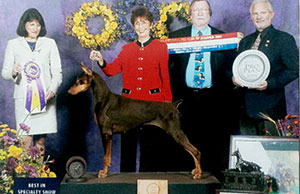 Jeanenne Thompson with Lexi, winner of the Doberman National Dog Show 2004. Thompson passed away of pancreatic cancer in 2005; her daughter has hosted Walk with the Dogs 5K in her memory for the past 10 years.