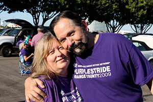 Roberta Luna, a 14-year pancreatic cancer survivor, with her husband, Vic, at PurpleStride Orange County.