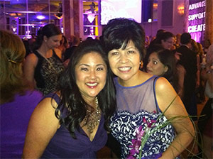 Lupe (right)) and Julia Tominaga, a member of the Pancreatic Cancer Action Network staff, at An Evening with The Stars gala in 2012.