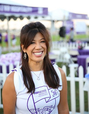 20-year pancreatic cancer survivor Anggie Becorest serves as the Affiliate Chair for the San Diego Affiliate of volunteers.
