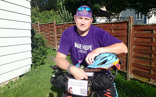 Robert with his bike. He is riding to fundraise for pancreatic cancer.