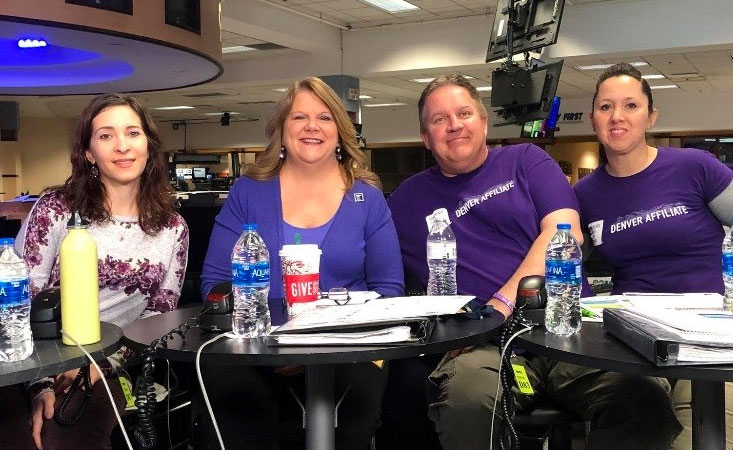 PanCAN volunteers in Denver worked the pancreatic cancer hotline at 9NEWS TV station