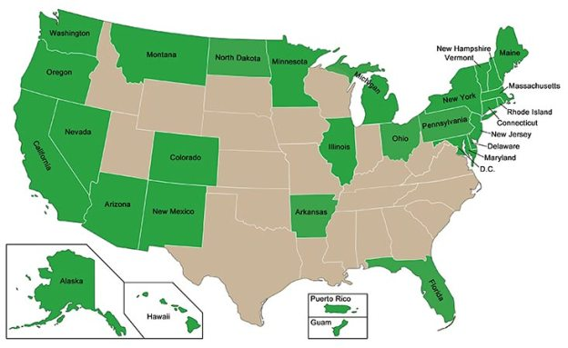 Map of U.S. states and territories indicating where medical marijuana is legal