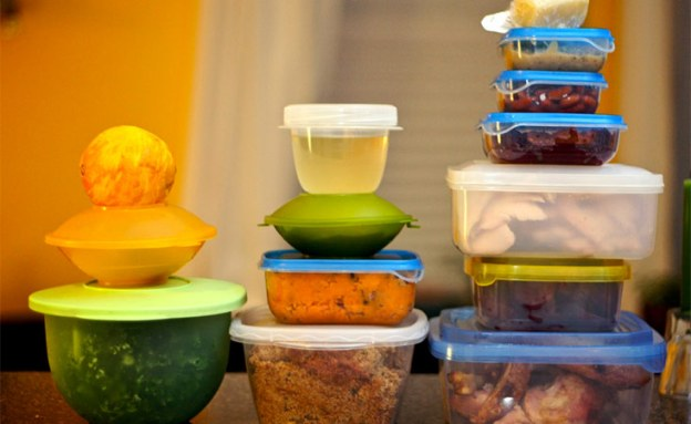 Storage containers filled with leftover meals make your next meal easy to prepare.