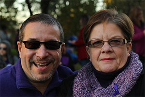 Pancreatic cancer survivor and PanCAN volunteer smiles with his wife