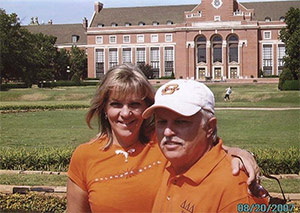 Husband with his wife who died from pancreatic cancer and inspired him to volunteer for PanCAN
