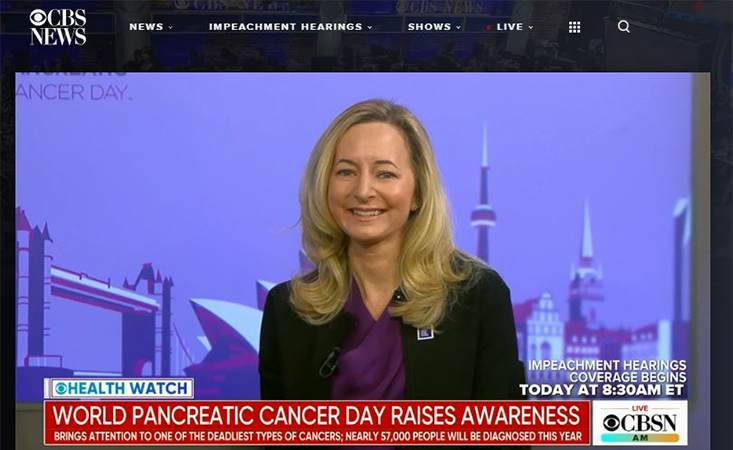 PanCAN CEO appears on the set of CBS News to speak about pancreatic cancer awareness