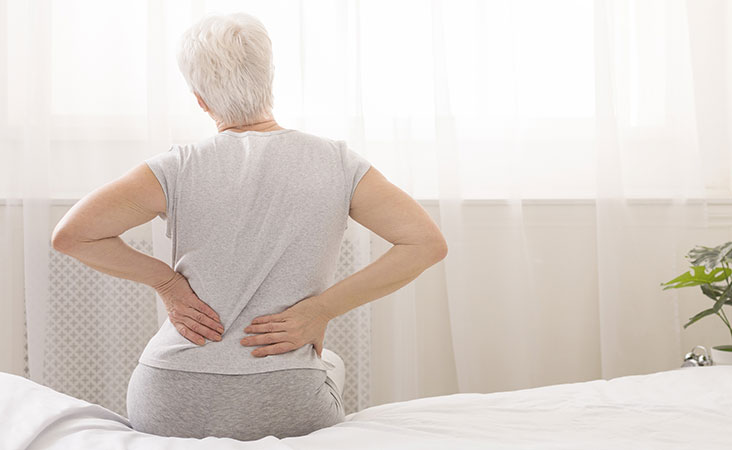 Woman with pancreatic cancer has back pain caused by her tumor
