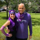 Pancreatic cancer survivor and his wife decked out in purple at home for virtual event