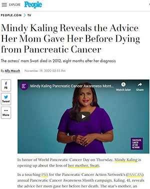 Actor Mindy Kaling talks about PanCAN in People magazine, November 2020