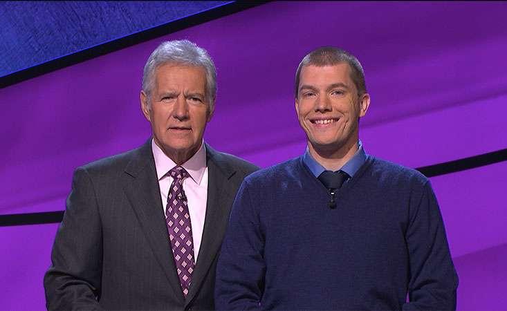 "1. ""Jeopardy!"" host Alex Trebek and contestant Jason Idalski"