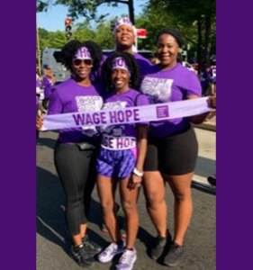 Gloria and her friends raise awareness and funds at PurpleStride Washington D.C.