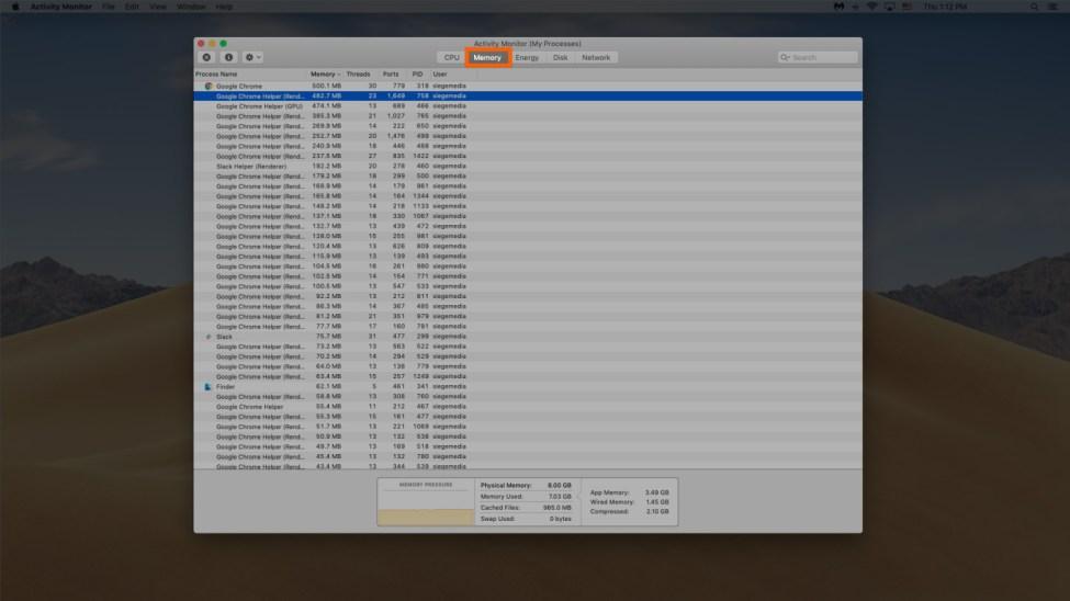mac cihazında ram'ın nasıl boşaltılacağının ekran görüntüsü 2. adım